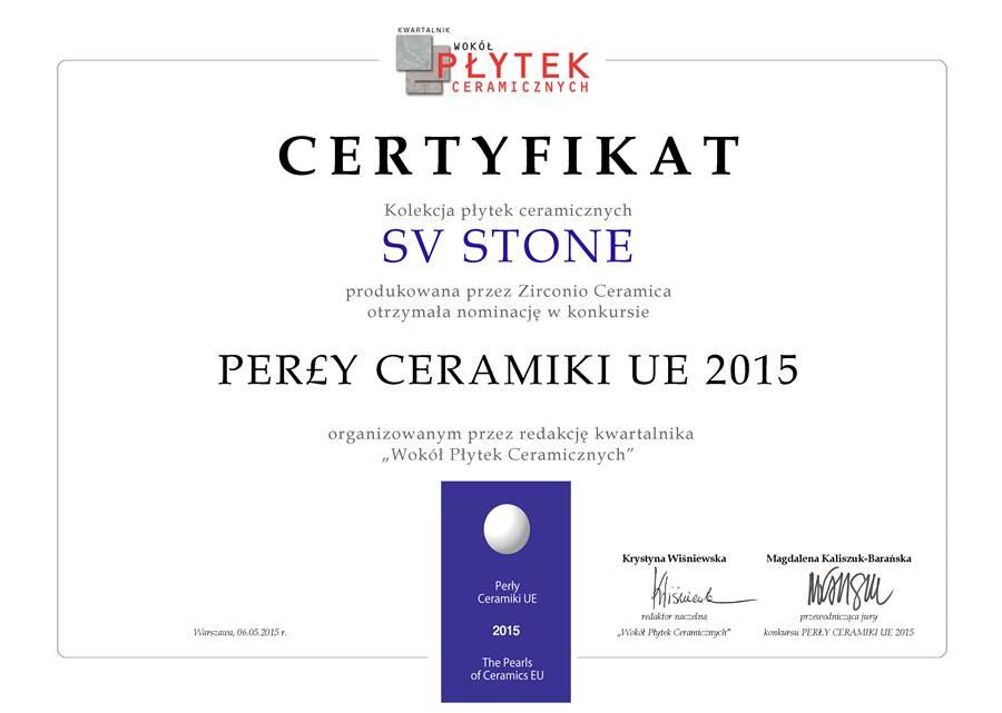 certyfikat SV Stone