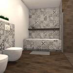 urocza łazienka z motywem patchworku