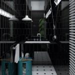 czarna elegancka łazienka
