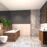 łazienka z ciekawym wzorem