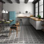 wzorzysta podłoga w kuchni