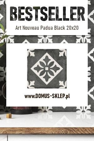 Art Nouveau Padua Black 20×20